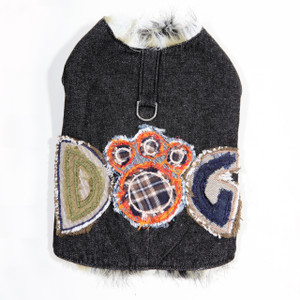 Black denim lined with green and brown faux fur.  The hand embroidered DOG applique in blue denim, silk, and plaid flannel are sure to make this coat a favorite.