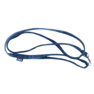 Blue denim leash with black top stitching to coordinate with denim harness vests.
