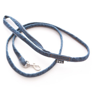 Blue denim leash with gold top stitching to coordinate with denim harness vests.