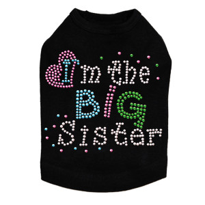 "I'm the Big Sister dog tank for large and small dogs. 6' X 5"" design with silver, pink, blue, & green nailheads."