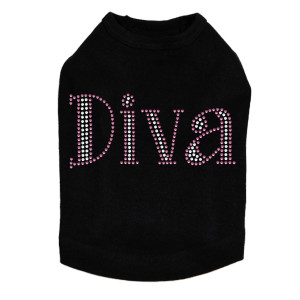 "Diva # 4 dog tank for large and small dogs. 4.5"" X 2""design with pink & AB iridescent rhinestones."