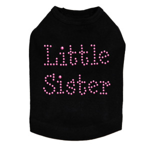 "Little Sister - Fuchsia dog tank for large and small dogs. 4"" X 3"" design with fuchsia nailheads"