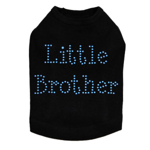 "Little Brother dog tank for large and small dogs. 5"" X 3"" design with blue nailheads."