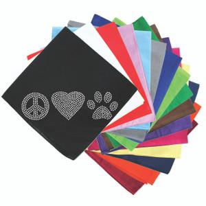 Peace, Love Paw (Rhinestone) - Bandanna