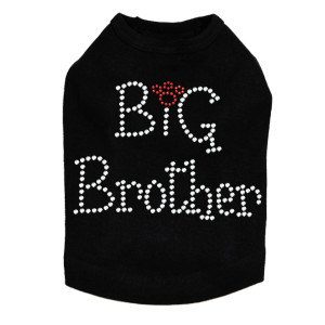 "Big Brother dog tank for large and small dogs. 5.5"" X 4"" design with clear & red rhinestones."