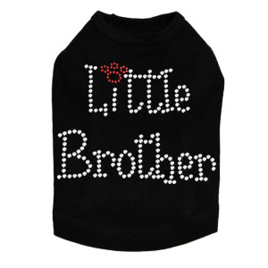 "Little Brother dog tank for large and small dogs. 5.5"" X 4"" design with clear & red rhinestones."
