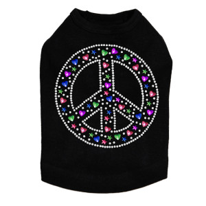 Peace Sign (Stars & Hearts) Dog Tank
