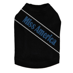 Miss America rhinestone dog tank for large and small dogs.