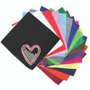 Pink Sequin & Rhinestone Heart Bandanna
