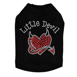 "Little Devil  dog tank for large and small dogs. 4"" X 3.5"" design with clear & red rhinestones."