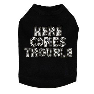 "Here Comes Trouble dog tank for large and small dogs. 5.75"" X 4"" design with clear & light topaz rhinestones."