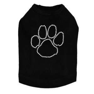 Paw - Rhinestone Outline dog tank for large and small dogs.