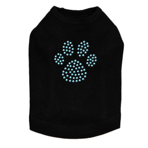 Paw - Blue Rhinestuds dog tank for large and small dogs.