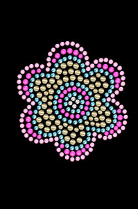 Multicolor Nailhead Flower  - Women's T-shirt