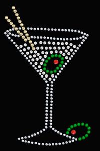 Martini (Silver Rhinestone)- Women's T-shirt