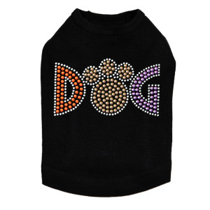 "Dog - Nailheads rhinestone dog tank for large and small dogs.  4"" X 2.25"" design with silver, brown, orange, & purple nailheads."