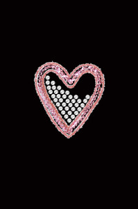 Pink Sequin & Rhinestone Heart Adult T-shirt or Tank.