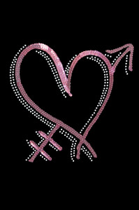 Pink Sequin Heart with Arrow Adult T-shirt or Tank.