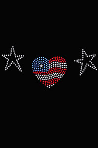 Patriotic Heart with Stars - Women's T-shirt