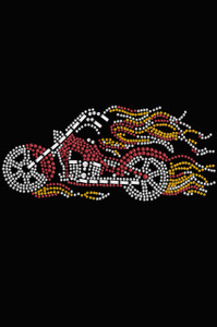 Motorcycle - Red with Flames - Women's T-shirt