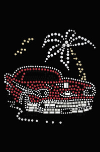 Car with Palm Tree (Red) - Women's T-shirt