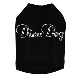 "Diva Dog rhinestone dog tank for large and small dogs. 5"" X 1.5"" design with clear rhinestones."