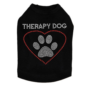 "Therapy Dog rhinestone dog tank for large and small dogs. 4"" X 4"" (small) & 7"" X 7"" (large) design with clear & red rhinestones."