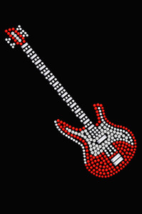 Guitar (Red Swarovski)  - Women's T-shirt
