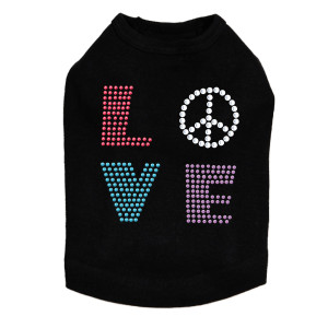 Love with Peace Sign Dog Tank