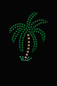 Palm Tree (Green Rhinestones - Small) - Women's T-shirt