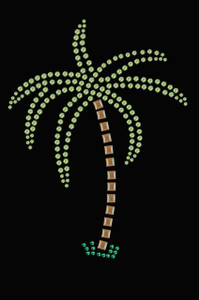Palm Tree (Green Rhinestones) - Women's T-shirt