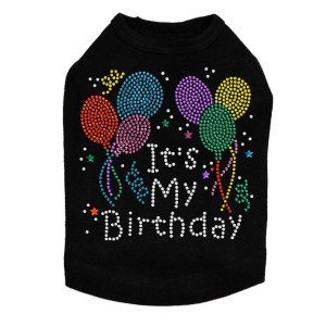 It's My Birthday rhinestone dog tank for large and small dogs.
