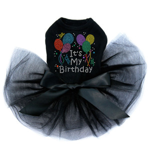 It's My Birthday rhinestone dog tutu for large and small dogs.