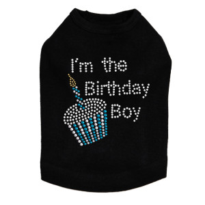 I'm the Birthday Boy rhinestone dog tank for large and small dogs.
