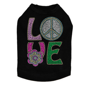Love with Peace Sign & Flower Dog Tank