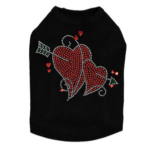 Red Rhinestone Hearts with Arrow Rhinestone dog tank for large and small dogs.