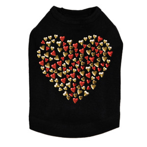 Red & Gold Nailhead Hearts Rhinestone dog tank for large and small dogs.