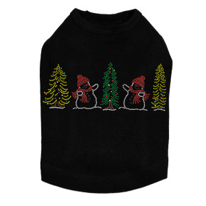 Two Snowmen in Trees - Black Dog Tank