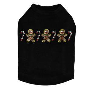Gingerbread Men & Candy Canes - Black Dog Tank