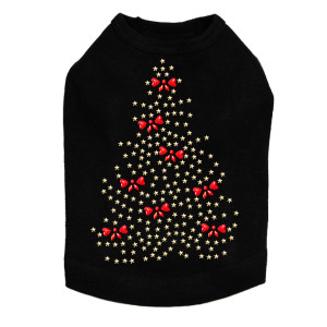 Gold Christmas Tree with Red Bows Dog Tank