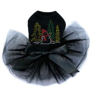 Snowman in Trees - Black Tutu