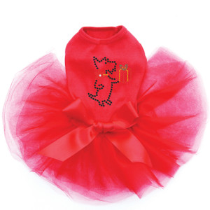 "Scotty with Gift rhinestone dog tutu for large and small dogs. 3"" X 3.5"" design with black, red, green, gold, & clear rhinestones."