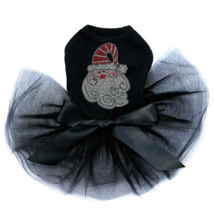 "Santa Face with Swirls in Beard  rhinestone dog tutu for large and small dogs. 4"" X 5.5"" design with clear, red, gray, black, and pink rhinestones."