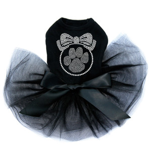 "Paw Ornament rhinestone dog tutu for large and small dogs. 5"" X 5"" & 8"" X 8"" design with clear rhinestones."