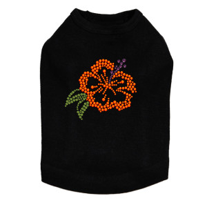 Orange Hibiscut dog tank for large and small dogs.
