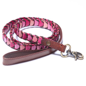 "Handmade leather leash made with three shades of soft pink leather and trimmed with brown leather. Leashes are 48"" long and available in 5/8"",  3/4"", & 1"" widths.   Please order the same width leash as the width of the collar.  2015 Winner ""Editor Choice Award""  Pet Product News International."