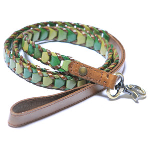 "Handmade leather leash made with three shades of soft green leather and trimmed with brown leather. Leashes are 48"" long and available in 5/8"",  3/4"", & 1"" widths.   Please order the same width leash as the width of the collar.  2015 Winner ""Editor Choice Award""  Pet Product News International."