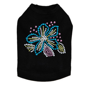 Turquoise Flower dog tank for large and small dogs.