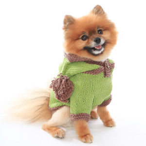 The Taylor - Green Hand Knit Dog Hoodie