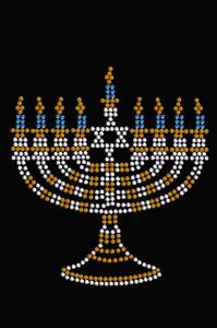 Menorah - Small (Blue, Silver, & Gold) - Women's T-shirt